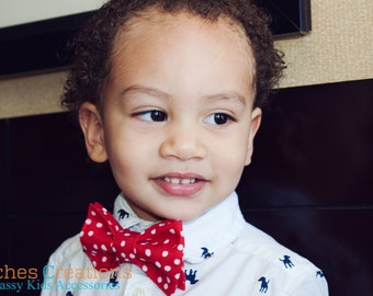 Red Bow Ties for Boys - Pre-tied Bow Ties, Kids Bow Ties, Toddler Bow Tie, Baby Bow Ties, Boys Bow Tie, Custom Bow Ties,