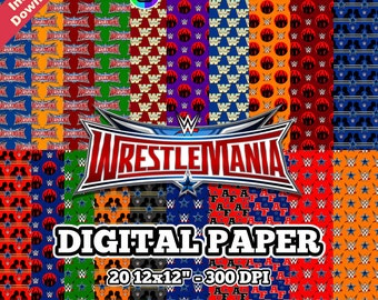 "WRESTLEMANIA - Digital Paper - 20 12x12"" jpeg 300 DPI - For Cardmaking, Scrapbooking, Party Decorations and More - Instant Download"