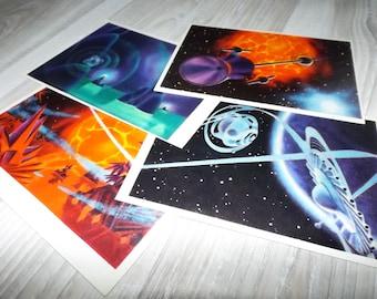 Vintage space art postcards - Vintage astronomy postcards - Spaceship art postcards - Galaxy art postcards - Planet postcards - Sci fi