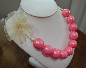 Gumball Necklace with Tulle Bow