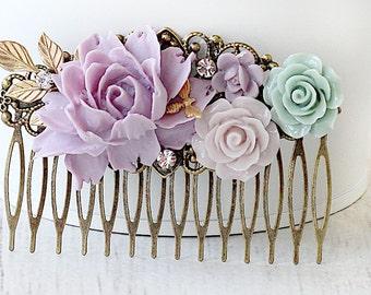 Bridal Hair Comb - Lavender Peony Hair Comb - Floral Hair Comb - Hair Comb - Vintage Style Bridal Hair Comb - Mom Gift - Graduation Hair