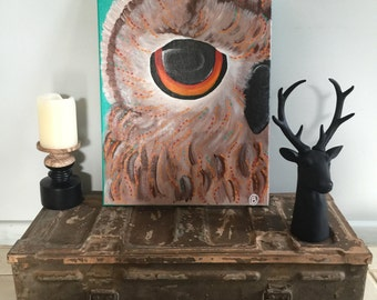 Owl abstract painting - special order for liz
