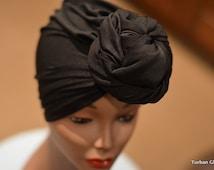 Black Turban | PRESEWN Black Head Wrap | Ready To Wear Headwrap | African Head wrap cap I Pret A Porter African Style Headtie Turban Cap