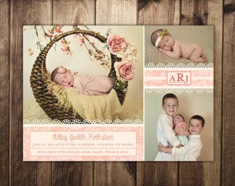 Newborn Baby Girl Monogram Lace Birth Announcement Card