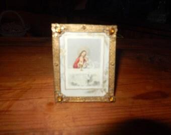 CZECHOSLOVAKIA JESUS PRINT in Antique Frame