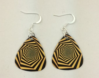 Optical illusion guitar pick earrings