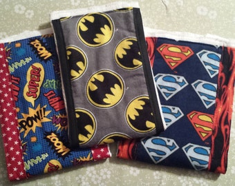 Burp cloths, SuperHero set of 3