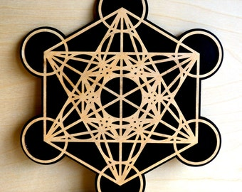Metatron's Cube Wall Art - Sacred Geometry Laser Cut Art - LaserTrees Item Number LT40019