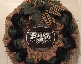 Philadelphia Eagles wreath, Philadelphia Eagles burlap wreath, Eagles front door sign, Eagles front door wreath, football wreath, football
