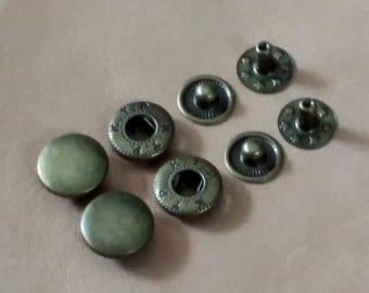 100 sets, 12.5 mm. Snap Fasteners buttons, Metal Snap Fasteners, Antique Brass Cap. VT5