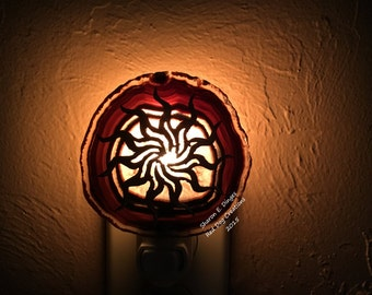 Copper Sun on Geode Slice night light