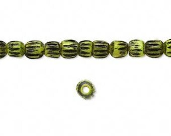 Green Bone Beads, Antiqued Green Beads, Green and Black, Corrugated Beads, 3 to 4mm Round, 40 Each, D859