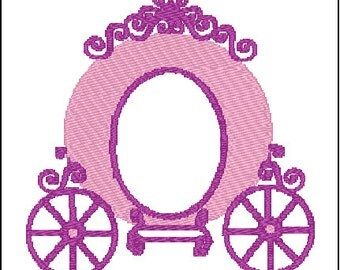 Princess Carriage Coach Embroidery Design