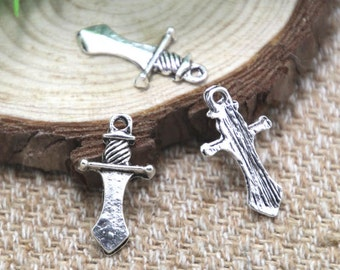 30pcs dagger Charms silver tone knife dagger Charms pendant 25x13mm D2003