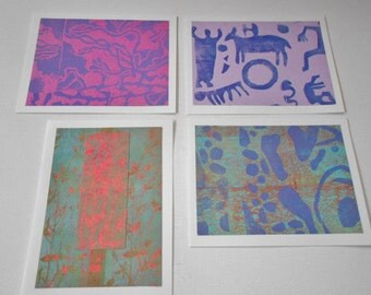 Assorted blank card set hand stamped hand printed lino cut block print artist signed