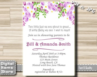 Flowers Baby Shower Invitation - Baby Shower Invitation Floral - Baby Shower Invites Floral for Girl - Flowers Printable Invitation - fg1