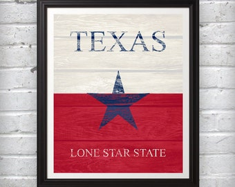 Texas Lone Star State Red White Blue Print Wall Art Decor Photo Print