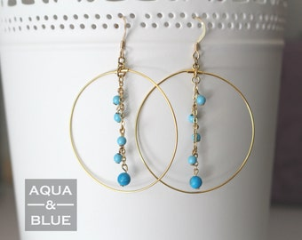 Gold Hoop with Chain/Turquoise/14K Gold-filled Hooks Earrings