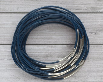 Blue leather bangles with silver tube, set of 20 bracelets