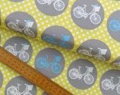 Bicycle Cycling Whimsical Wheels Nutex Polkadot Yellow Grey Blue Cotton Fabric by Lovely Jubbly Designs per fat quarter per metre