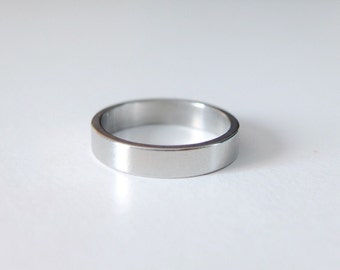 5 pc 4 mm width size 7 Stainless steel ring blank , ring stamping blank, engraving ring blank, Stainless steel ring
