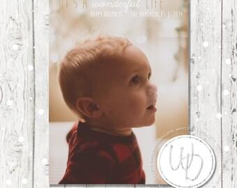 Wonderful Life Christmas Card, Baby Christmas Card, Simple Christmas Card, Baby Photo Christmas Card, Modern Holiday Card, Baby Announcement