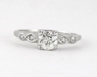 Antique 1.00 carat Old European Diamond Platinum Engagement ring. Circa 1920.