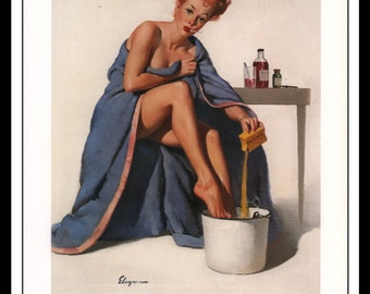 """Gil Elvgren Vintage Pinup Illustration """"Nothing To Sneeze At 1947"""" Sexy Pinup Mature Wall Art Deco 1995 Book Print 9 3/4"""" x 14"""""""