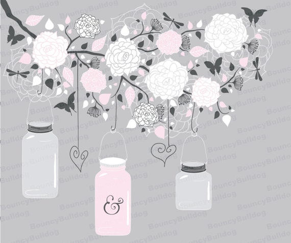 Flowers Hanging Jars Clipart Tree Branch Vector By
