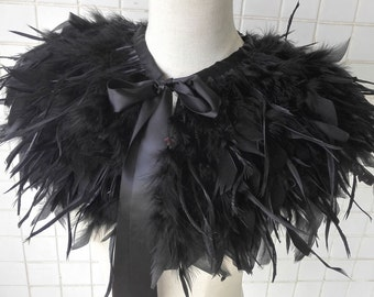 Gothic layered torn goose feather and turkey feathear cape #FC16009