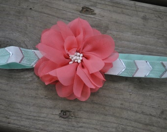 MInt and Pink Chevron Newborn Headband