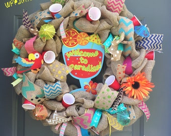 Red Solo Cup String Lights/Summer Burlap Wreath/Tiki Time/Welcome to Paradise