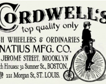 Cordwell Bicycle Penny Farthing Advertisment Stencil (12x18)