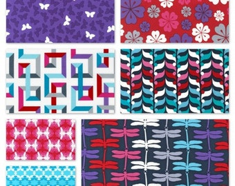 Fancy Flight (Jewel colorway) by Nancy Mims for Robert Kaufman FQ organic fabric bundle