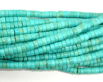 Turquoise Howlite Beads, 2x4mm Heishi Beads, 15.5 Inch, Full strand, Approx 175 beads, Hole 1.2 mm (213041003)