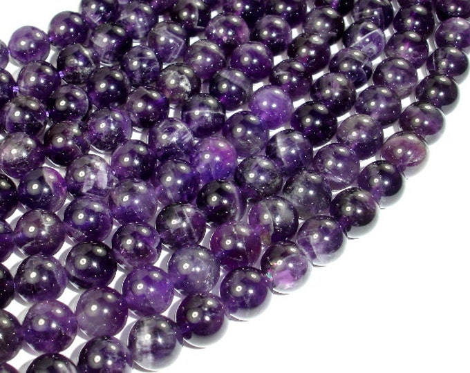 Amethyst, Approx 8mm (8.5mm) Round Beads, 15.5 Inch, Full strand, Approx 48 beads, Hole 1 mm (115054020)