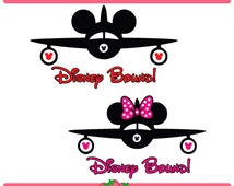 Disney Bound Plane Mickey Mouse and Minnie Mouse Plane Silhouette Set Svg File