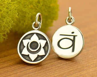 Sterling Silver, Sacral Chakra, Etched Charm, Sacral Chakra Charm, Chakra Charm, Chakra Jewelry, Sacral Jewelry, Yoga Charm, Yoga Jewelry