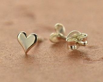 Sterling Silver Tiny Heart Post Earrings