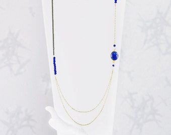 Lapis Lazuli Layered Asymmetric Necklace. Lapis Lazuli. Layered Necklace. Lapis Lazuli Jewellery. Asymmetric Necklace. Unique Necklace.