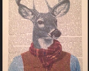 Vintage Stag Head Deer Print 1933 Dictionary Page Wall Art Picture Tweed Animal Upcycle Tartan