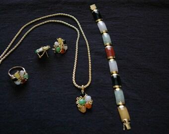 Vintage, Floral, Jade jewelry set
