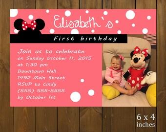 Custom Printable Birthday Invitation - Minnie Ears