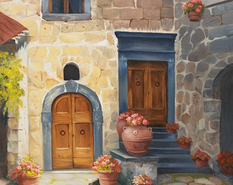 Fine Art Print Tuscan Double Doors - Italy, Tuscany, Toscano, Courtyard, stone building, Italian, village