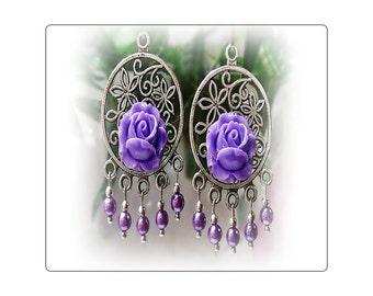 Purple rose, pearl, vintage style chandelier earrings - clip on or pierced