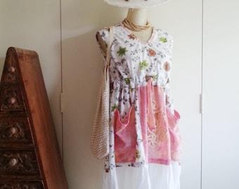 Handmade Dress - Boho Dress - Vintage Dress - Eco Clothing - Upcycled Clothing - Shabby Chic - Rustic - Festival - Wearable Art - Med/Large
