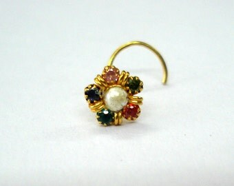 18kt traditional design gold nose stud nosepin rajasthan india