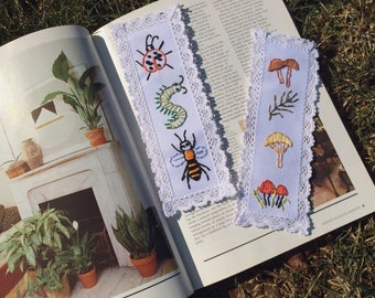 Embroidered lace bookmark
