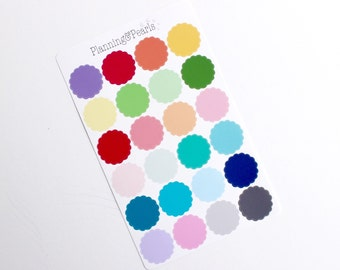 Scalloped Circle Stickers   24 Planner Stickers