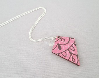 Hot pink necklace, wood necklace, sterling silver necklace, decoupage necklace, statement necklace, unique necklace, wood pendant, gift